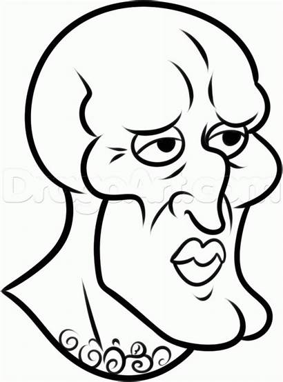 Squidward Handsome Draw Drawing Line Step Drawings