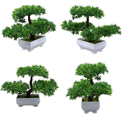 พืชบอนไซประดิษฐ์ในร่มปลอมแขกอวยพรต้นสนสีเขียวตกแต่งโต๊ะ ...