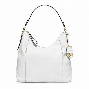 Michael kors Bowery Large Leather Shoulder Bag in White | Lyst