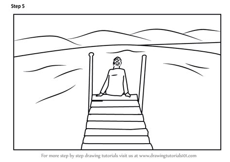 How To Draw A Boat Scene learn how to draw a person sitting on boat dock scenes
