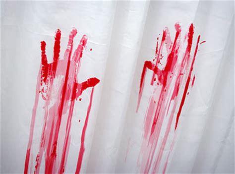 blood bath shower curtain and bath mat