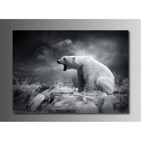 stickers chevaux pour chambre tableaux toile déco rectangle ours polaire noir et blanc