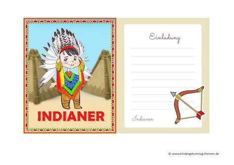 kindergeburtstag indianer schablone von einladungen