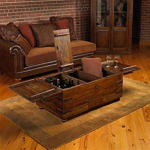 Thakat bar box trunk coffee table wine enthusiast for Thakat bar box trunk coffee table