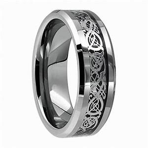 Vintage jewelry 8mm tungsten carbide dragon ring for men for Mens lord of the rings wedding bands