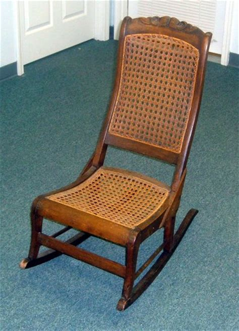 wood rocking chair with wicker inserts beautiful detailing