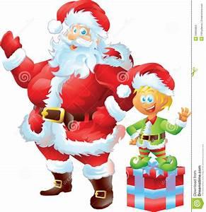 Santa Claus With Elf Stock Illustration Illustration Of