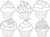 Cupcake Coloring Pages Drawing Cupcakes Template Cake Clipart Macaron Printable Painting Muffin Paper Colouring Kunst Cute Pintura Books Discover Adult sketch template