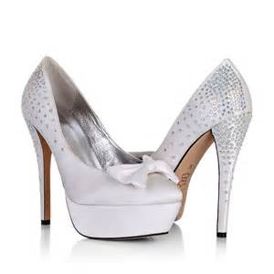 wedding shoes heels platform high heel bow rhinestone white wedding bridal shoes cheap flowerweddingshoes