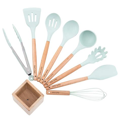spatula bamboo wood kitchen utensils utensil cooking silicone spoon handles non toxic turner nonstick chef cookware tongs hand 11piece approved