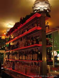 grove restaurant double sided bar  shelving