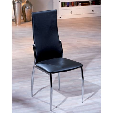 delta dining chair in black faux leather with chrome legs
