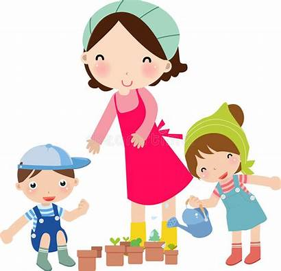 Mother Clipart Watering Illustration Vector Dreamstime