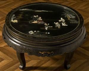 Table Basse Boheme : table basse vintage chinoise laqu e noir incrustations jade meuble ancien de style asiatique ~ Teatrodelosmanantiales.com Idées de Décoration