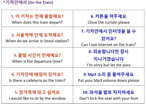 how to form a korean sentence at the train station and on the train korean vocabulary