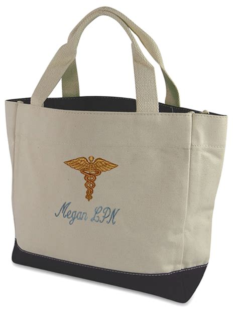 embroidered nurse tote bag monogram