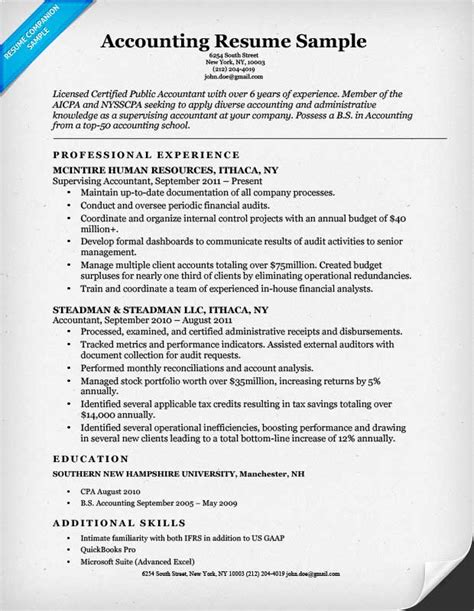 Exle Of Resume For Accountant Position by Accounting Cpa Resume Sle Resume Companion