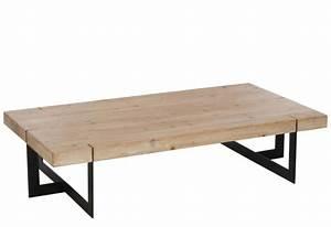 Table Basse Rectangulaire Bois : table basse industriel rectangulaire m tal noir et bois massif j li ~ Teatrodelosmanantiales.com Idées de Décoration