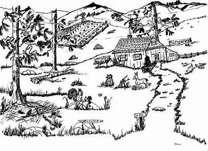 Farm Idyllic Drawing Drawings Cool Hagerman Daniel