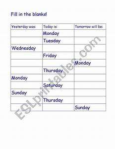 English worksheets: Yesterday Today Tomorrow