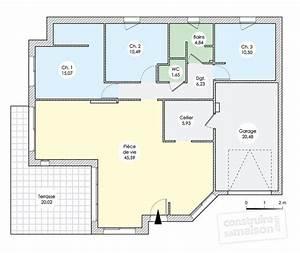 plan maison 120m2 plain pied agrandir le plan pied With plan de maison 120m2 plain pied