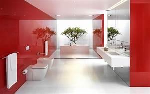 salle de bain rouge la couleur de la passion With salle de bain design avec décoration végétale intérieur