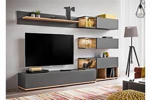 Meuble Mural Chambre : ensemble meuble tv mural anthracite et bois cbc meubles ~ Melissatoandfro.com Idées de Décoration