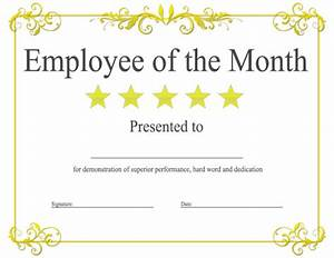 Employee Certificate Templates Free Epic Editable Template Example Of Employee Of The Month Certificate With Yellow Floral Pattern