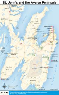 Map of the Avalon Peninsula Newfoundland Canada