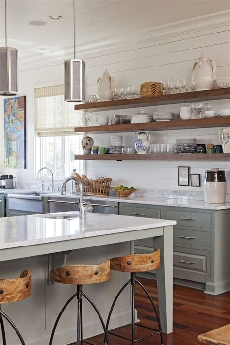 kitchen island with open shelves open kitchen shelves farmhouse style open shelving