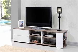Tv Chez But : meuble tv leader blanc brillant chene ~ Teatrodelosmanantiales.com Idées de Décoration