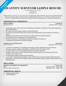 quantity surveyor resume objective quantity surveyor resume sle resume sles across all industrie