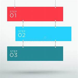 Infographic 3 Colourful Title Boxes Hanging 3d Vector Stock Vector