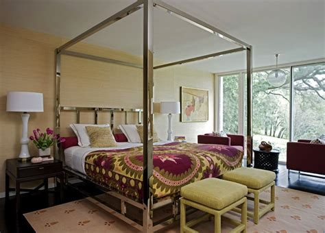 chrome canopy bed contemporary bedroom