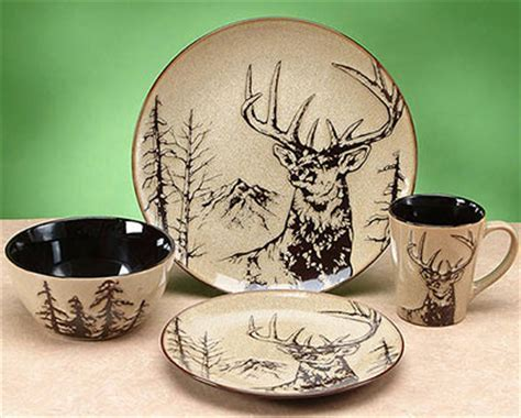 Woodlands Wildlife Whitetail Deer Dinnerware Set