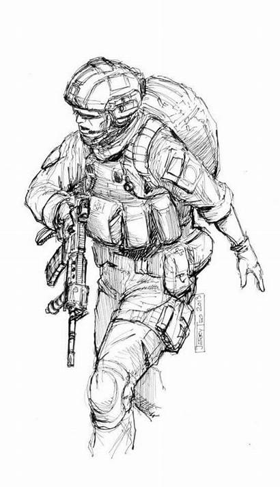 Army Military Soldier Drawing Drawings Sketches Marine
