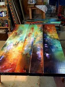 Bohemian, Painted, Dining, Table, Colorful, Kitchen, Table, Art