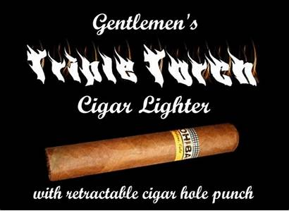 Cigar Lighter Punch Hole Torch Triple Retractable