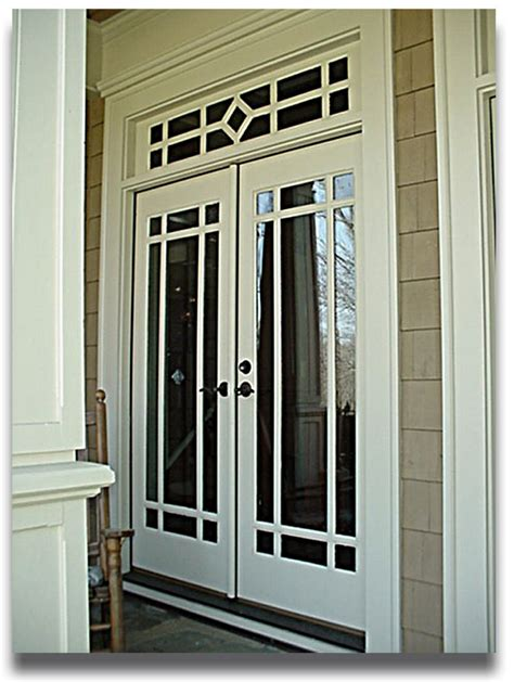 wood doors exterior with transom painted with white color decor and glass insert