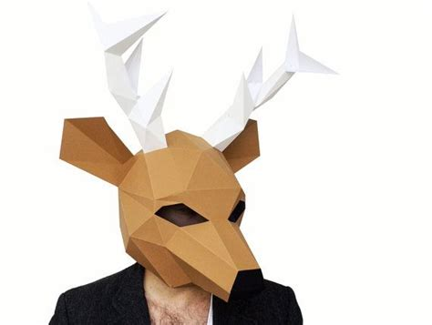 deer mask  poly paper craft template printable paper