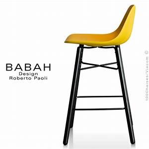 Tabouret Bois Design : tabouret de cuisine design babah wood 65 pieds bois peint assise coque plastique dossier ~ Teatrodelosmanantiales.com Idées de Décoration