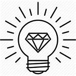 Idea Icon Bulb Smart Creative Icons Diamond