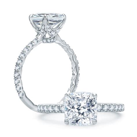 quilted french pave cushion cut center engagement ring