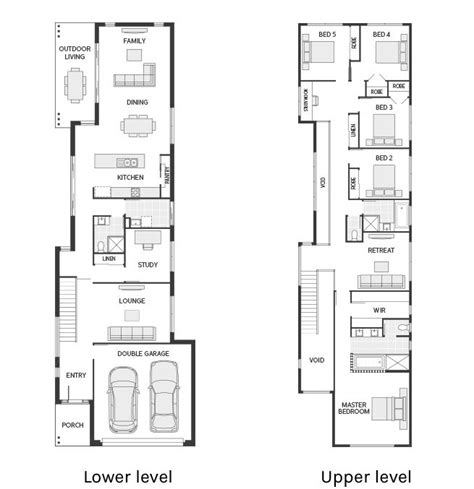 floor plan friday narrow  large  storey home houses