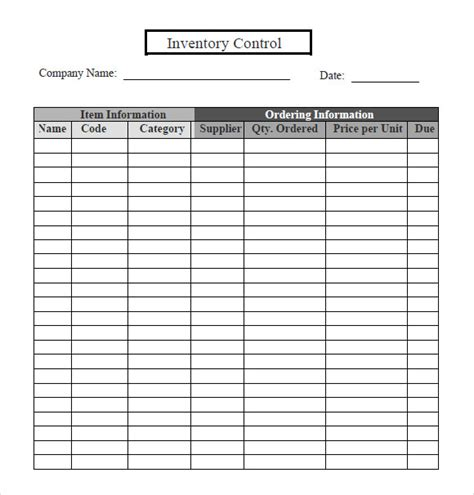 inventory tracking control template spreadsheet