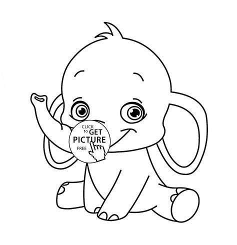 Cute Baby Elephant Animal Coloring Page For Kids Animal
