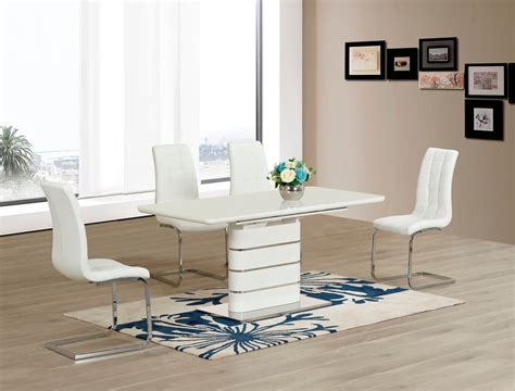 White Gloss Dining Table by White Glass With High Gloss Dining Table And 6 Chairs