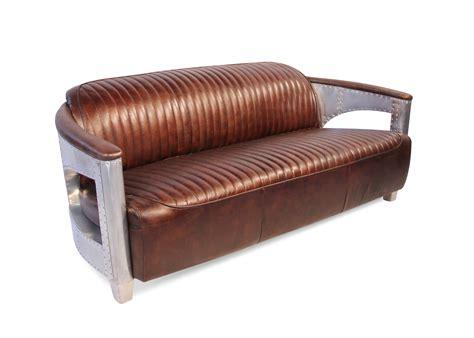 sofa braun vintage aviator sofa 3 platze in braun vintage leder mit aluminium genietet