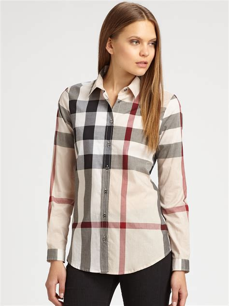 burberry blouse burberry brit cotton check blouse in lyst