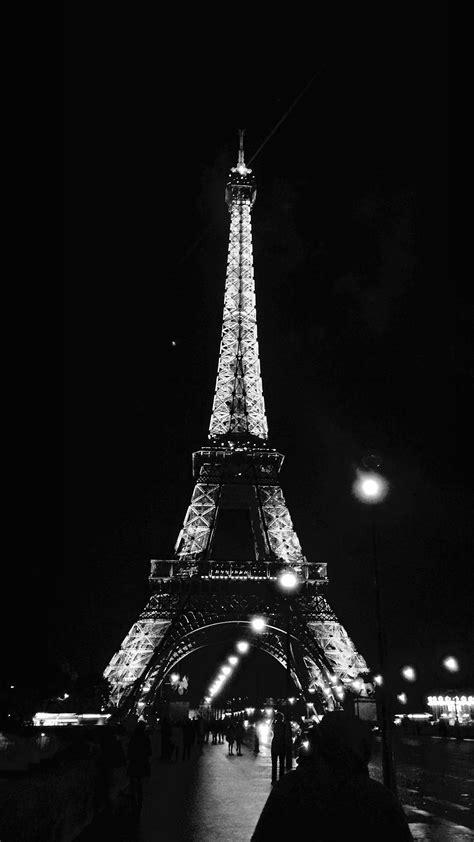 paris city art night france eiffel tower dark bw